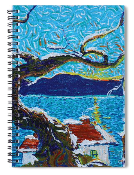 A River's Snow Spiral Notebook