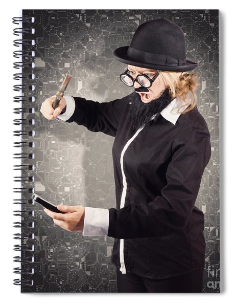 Angry Businessman Breaking Smartphone With Hammer Spiral Notebook
