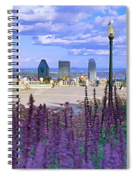 Blooming Flowers With City Skyline Spiral Notebook