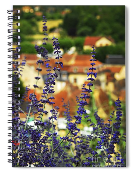 Blue Flowers And Rooftops In Sarlat Spiral Notebook