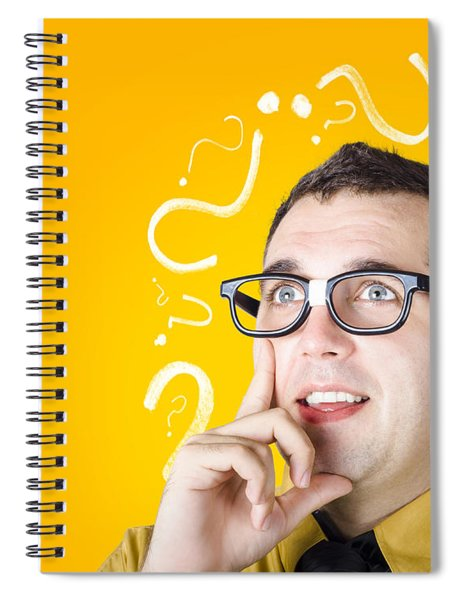 Brainy Man Puzzle Solving On Question Background Spiral Notebook
