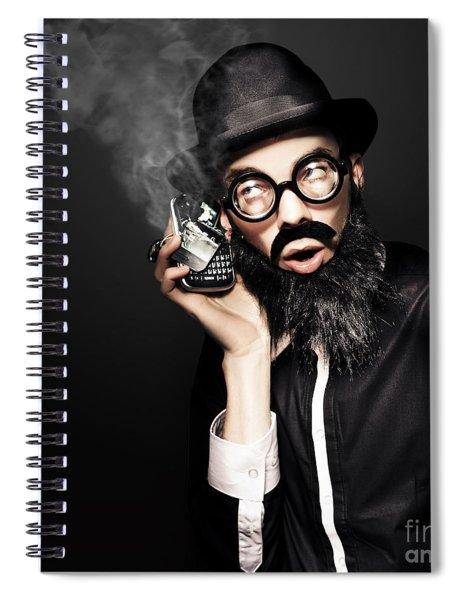 Business Man Talking On Broken Smart Mobile Phone Spiral Notebook