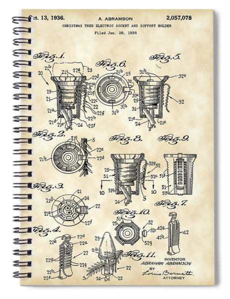 Christmas Bulb Socket Patent 1936 - Vintage Spiral Notebook by Stephen Younts