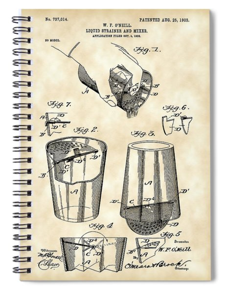Cocktail Mixer And Strainer Patent 1902 - Vintage Spiral Notebook