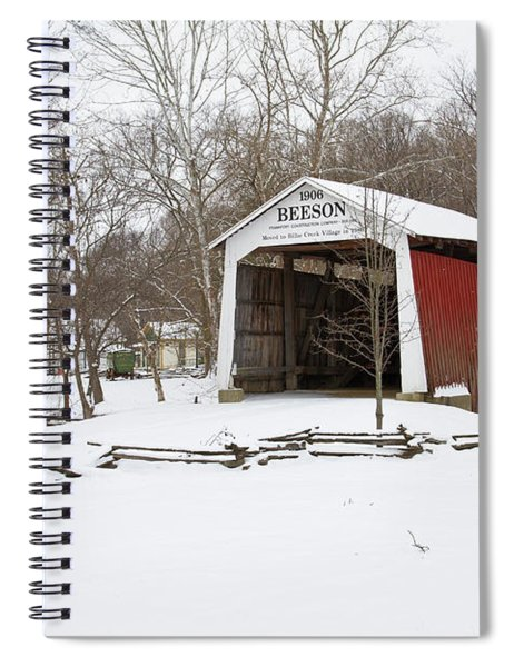 Covered Bridge In Snow Covered Forest Spiral Notebook