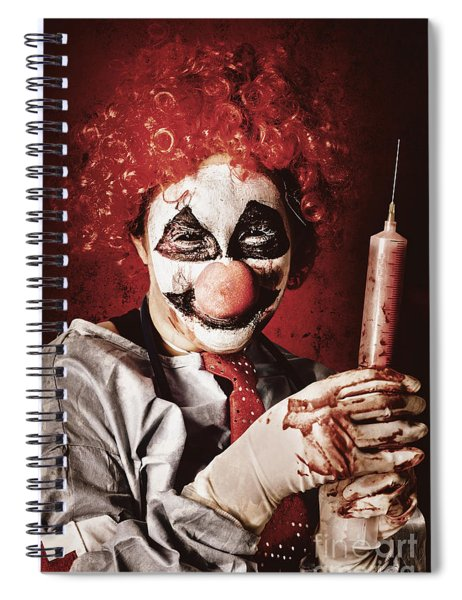 Crazy Medical Clown Holding Oversized Syringe Spiral Notebook