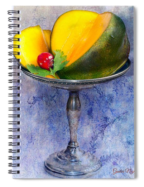 Cut Mango On Sterling Silver Dish Spiral Notebook