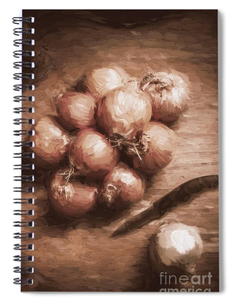 Digital Painting Of Brown Onions On Kitchen Table Spiral Notebook