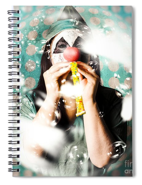 Doctor Clown Blowing Party Horn At Monster Party Spiral Notebook