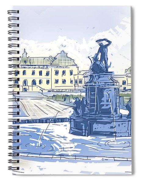Drottningholms Slott Royal Palace And Fountain Illustration Spiral Notebook