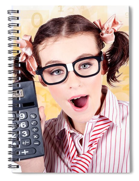 Education Math Tutor Holding Numbers Calculator Spiral Notebook