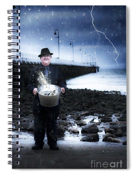 Elderly Fisherman Holding A Bucket Of Fish Spiral Notebook