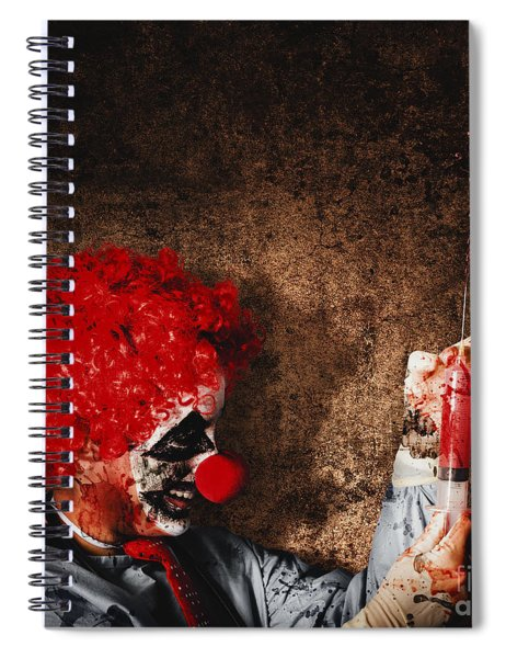 Evil Halloween Clown With Big Scary Needle Spiral Notebook