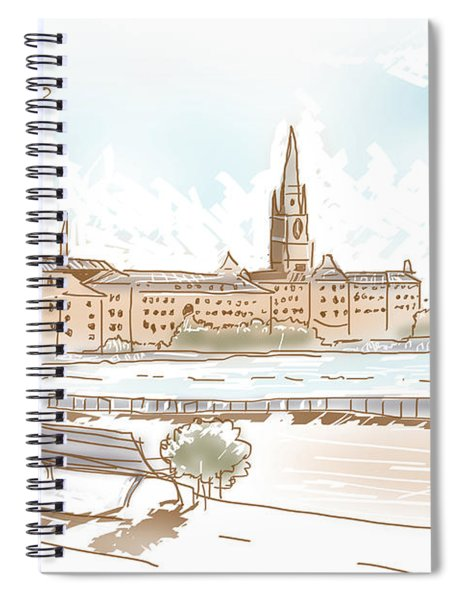 Fine Art Landscape Sketch Of Stockholm Sweden  Spiral Notebook