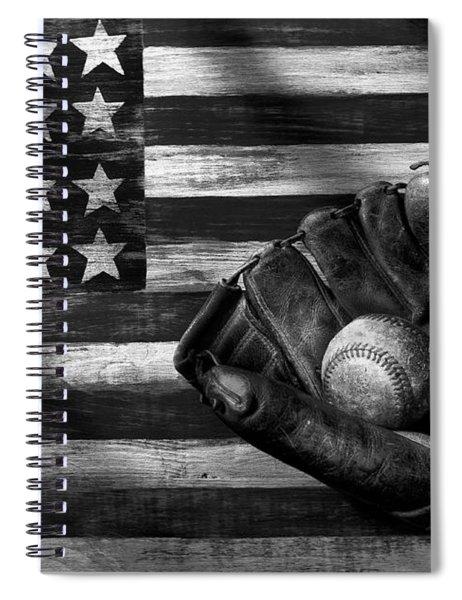 Folk Art American Flag And Baseball Mitt Black And White Spiral Notebook