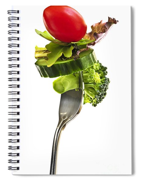 Fresh Vegetables On A Fork Spiral Notebook