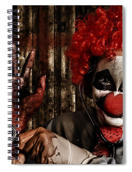 Frightening Clown Doctor Holding Amputated Hand  Spiral Notebook