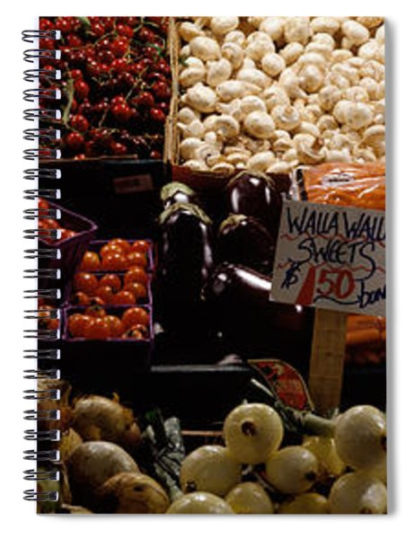 Fruits And Vegetables At A Market Spiral Notebook