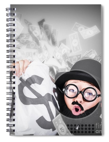 Funny Businessman With Falling Money. Success Spiral Notebook