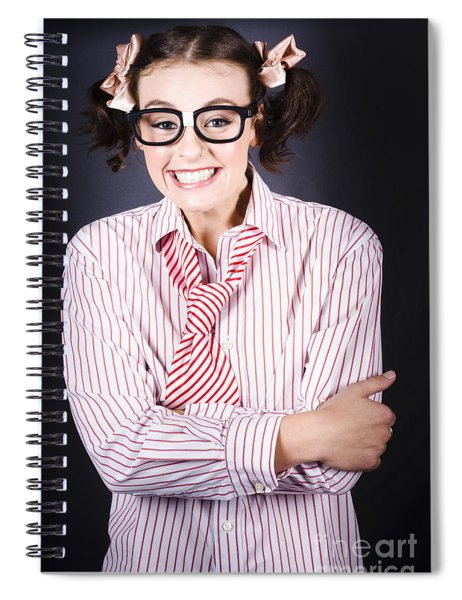 Funny Female Business Nerd With Big Geeky Smile Spiral Notebook