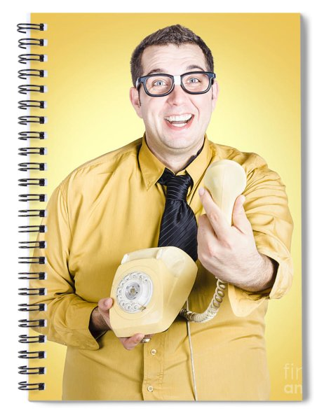 Funny Nerd Handing Over Good News Info Spiral Notebook