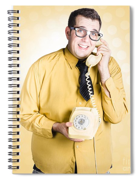Geeky Businessman On Important Phone Call Spiral Notebook