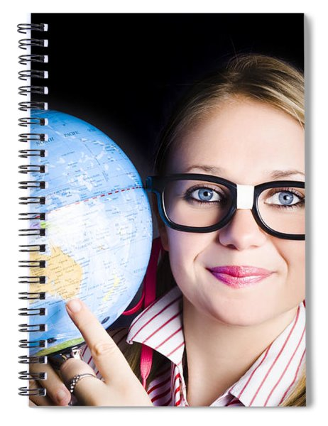 Geography School Student Learning About World Spiral Notebook