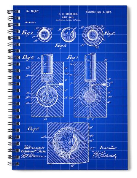 Golf Ball Patent 1902 - Blue Spiral Notebook
