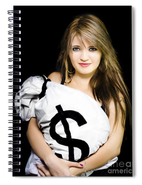Happy Woman With A Bag Of American Dollar Bills Spiral Notebook