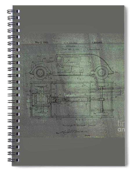 Harleigh Holmes Original Automobile Patent  Spiral Notebook