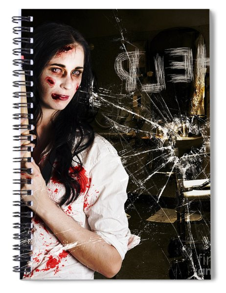Help. Creepy Hospital Patient In Horror Asylum Spiral Notebook