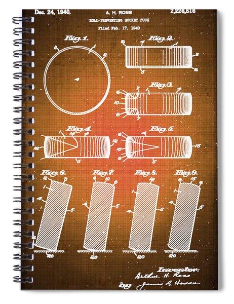 Hockey Puck Patent Blueprint Drawing Sepia Spiral Notebook