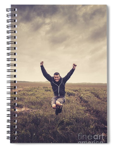 Holiday Man Jumping On Rural Australia Landscape Spiral Notebook