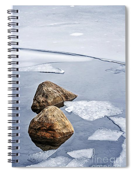 Icy Shore In Winter Spiral Notebook