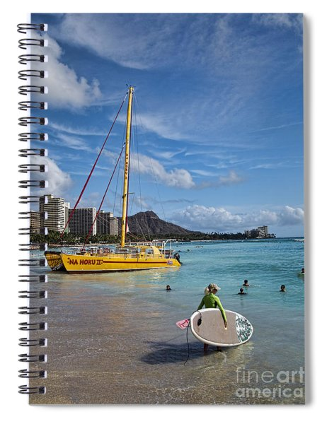 Idyllic Waikiki Beach Spiral Notebook