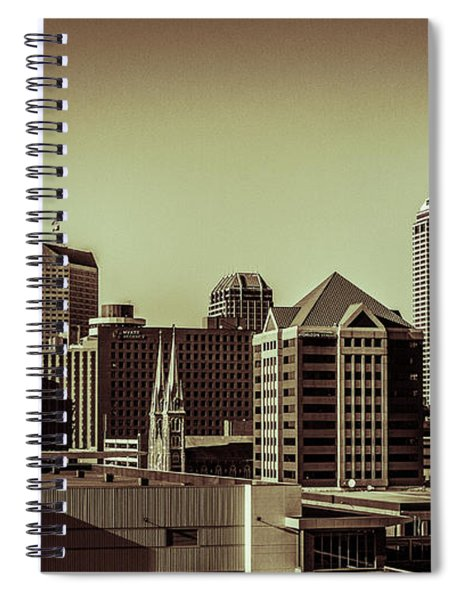 Indianapolis Skyline - Black And White Spiral Notebook
