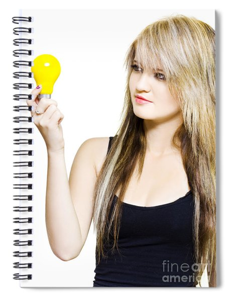 Isolated Woman With Idea On White Spiral Notebook