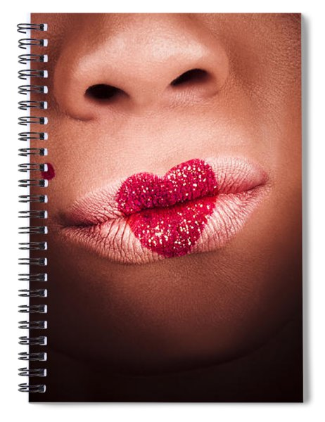Makeup Love With A Cosmetics Kiss Spiral Notebook