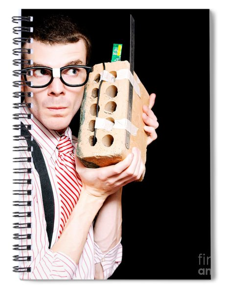 Male Nerd Inventor Holding Brick Mobile Telephone Spiral Notebook