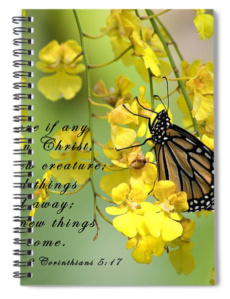 Monarch Butterfly With Scripture Spiral Notebook