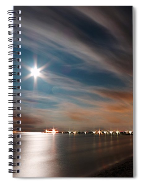 Moon Rise Over Anna Maria Island Historic City Pier Spiral Notebook