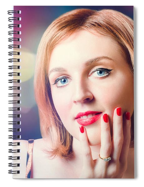 Night Fashion Photo. Beauty Model In Diamond Ring Spiral Notebook