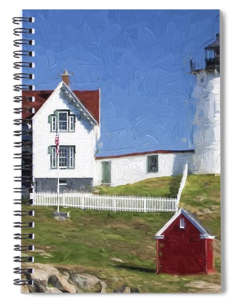 Nubble Lighthouse Maine Painterly Effect Spiral Notebook