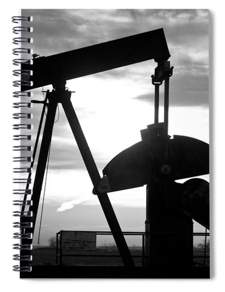 Oil Well Pump Jack Black And White Spiral Notebook