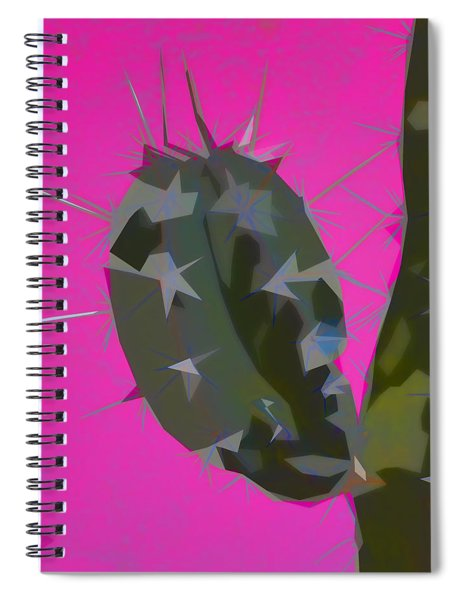 Pink And Green Cactus Collage Spiral Notebook by Carol Leigh