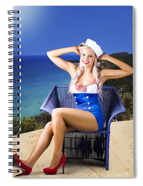 Pinup Woman On A Tropical Beach Travel Tour Spiral Notebook