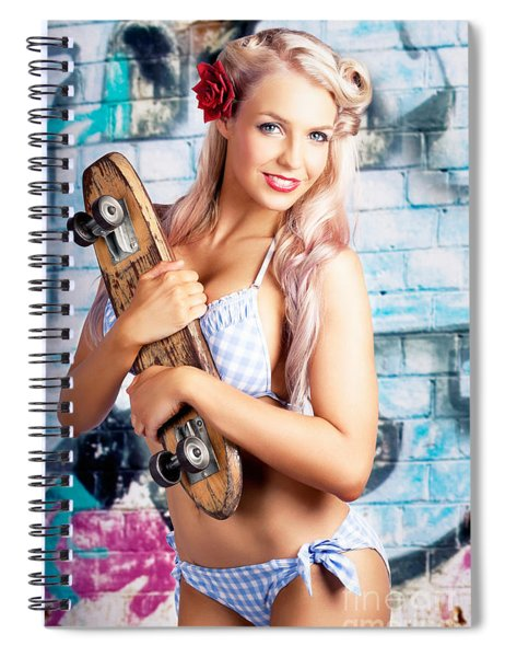 Portrait Of A Young Grunge Woman On Graffiti Wall Spiral Notebook