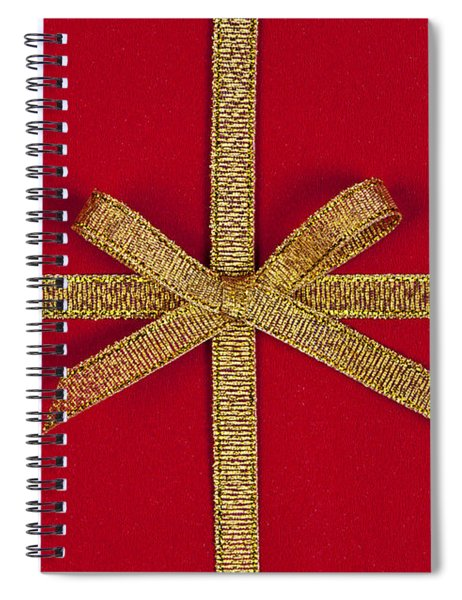 Red Gift With Gold Ribbon Spiral Notebook