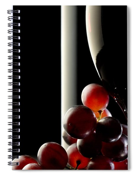 Red Wine With Grapes Spiral Notebook