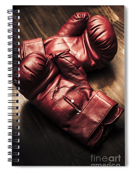 Retro Red Boxing Gloves On Wooden Training Bench Spiral Notebook